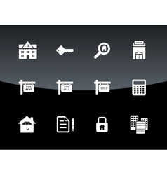 Real Estate icons on black background vector image
