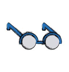 Round eyeglasses frame fashion old style vector
