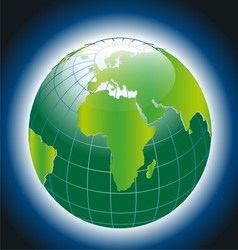 Green Earthon Blue Background vector image
