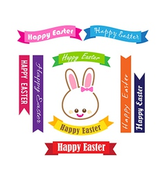 Collection of happy easter on ribbon tag vector