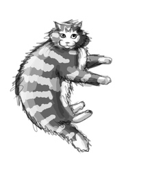 Cute grey cat sketch for your design vector