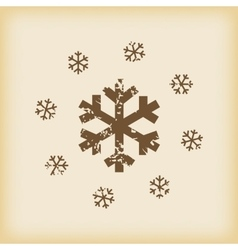 Grungy snowflakes icon vector image