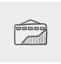 Envelope with handle sketch icon vector