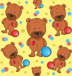 Pattern with teddy bears vector