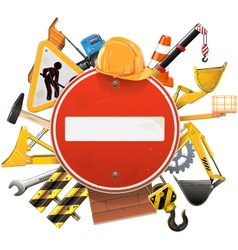 Construction concept with red sign vector