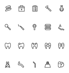 Dental line icons 6 vector