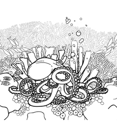 Graphic octopus and coral reef vector image