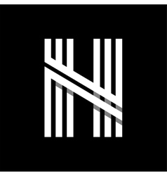 Capital letter n made of three white stripes vector