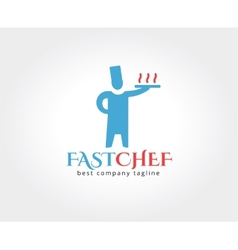 Abstract chef with food delivery logo icon concept vector image