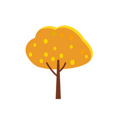 Autumn tree with orange crown and yellow leaves vector