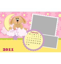 Babys monthly calendar for february 2011s vector image vector image