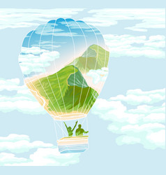 Balloon with travelers and summer landscape vector