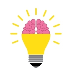 Brain in the light bulb vector