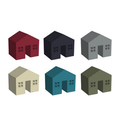 Building houses icon in 3d vector