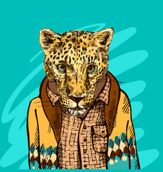 Cheetah in a jacket vector