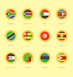 Circular flags of south africa south sudan vector