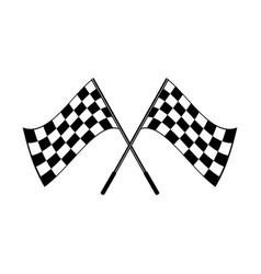 crossed black and white checkered flags logo vector image vector image