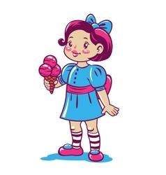 Cute cartoon little girl with ice cream vector