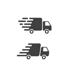 Delivery truck icon flat symbol fast shipping vector