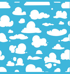 Different clouds on blue sky seamless vector