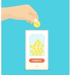 Donation Gold Coin in a Box Concept vector image