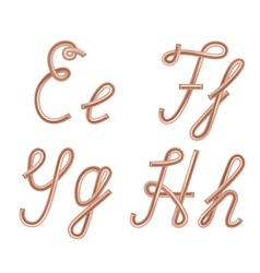 E f g h letters made of metal copper wire vector