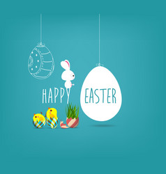 easter blue poster with chicken and handwritten vector image vector image