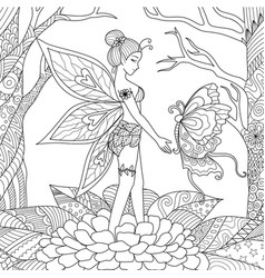 fairy with butterfly vector image vector image