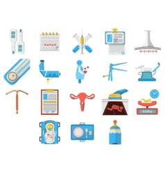 Flat design icons collection of gynecology vector