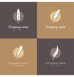 Four feather logos vector