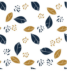 Graphic magnolia leaves and jungle spots trendy vector