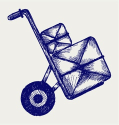 Hand truck with post packages vector image