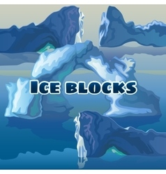 Ice blocks on a blue background vector