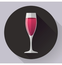 icon - glass of pink wine Flat designed vector image