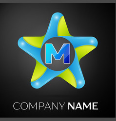 Letter m logo symbol in the colorful star on black vector