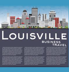 Louisville skyline with gray buildings blue sky vector