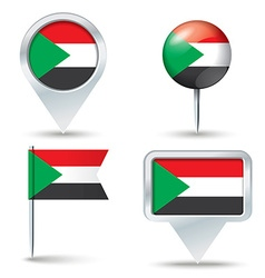 Map pins with flag of sudan vector