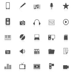 Media icons with reflect on white background vector image vector image