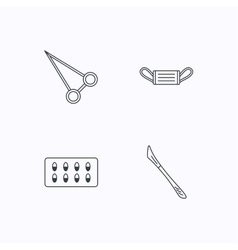 Medical mask capsules and scalpel icons vector image
