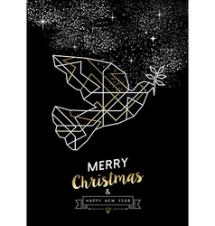 Merry christmas new year peace dove outline gold vector image