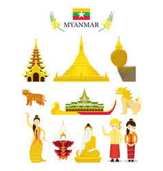 myanmar landmarks and culture object set vector image