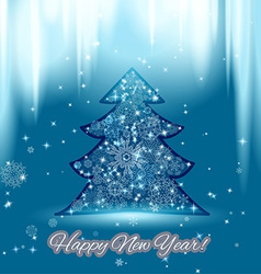 New year background with christmas tree and vector image