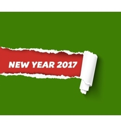 New year green torn edge template and paper vector