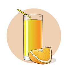 orange juice in a glass vector image