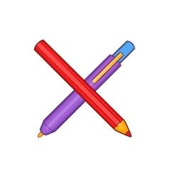 Pencil and pen icon in cartoon style vector image vector image