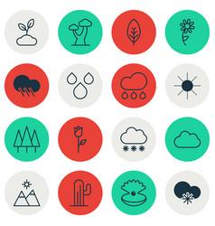 Set of 16 landscape icons includes rain cloud vector