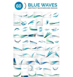 Set of blue waves vector image