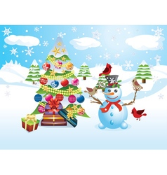 Snowman with christmas tree3 vector