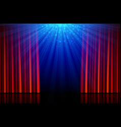 Stage with red opening curtains and spotlights vector