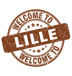 Welcome to lille brown round vintage stamp vector